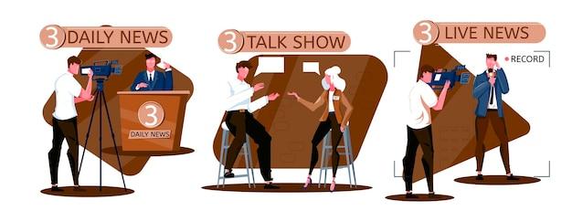 News set televisivo di tre illustrazioni con notizie quotidiane in diretta e talk show ospita ospiti