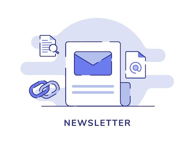 Busta di concetto della newsletter su carta intorno alla catena
