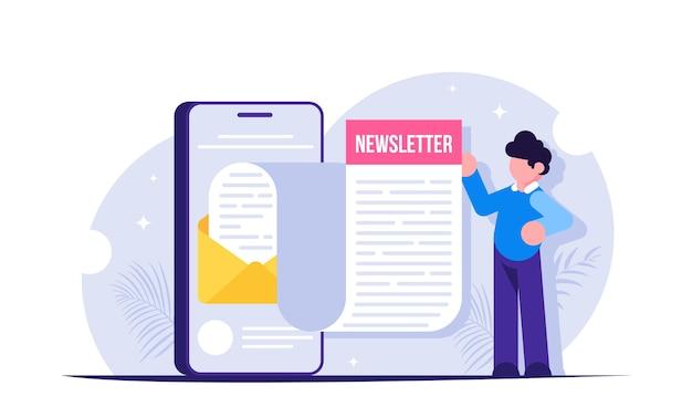 Concetto di newsletter. l'uomo ha aperto l'email di notizie ricevuta sul suo smartphone. avviso di un nuovo messaggio