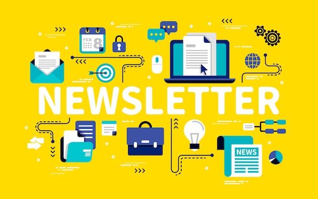 Concetto di newsletter, forniture per ufficio in stile