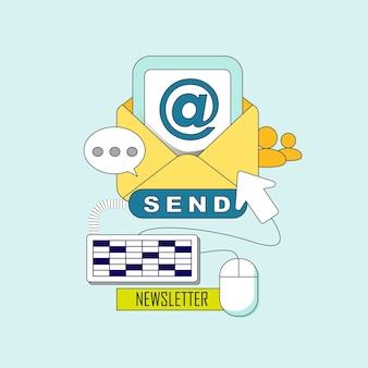 Concetto di newsletter: pronto per inviare un'e-mail in stile linea