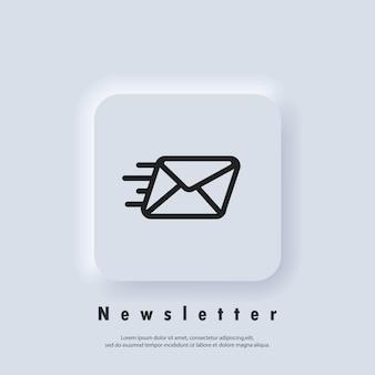 Logo della newsletter. icona della busta. icone di posta elettronica e messaggistica. campagna di email marketing. vettore eps 10. icona dell'interfaccia utente. pulsante web dell'interfaccia utente bianco neumorphic ui ux. neumorfismo