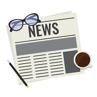 Giornale, concetto di lettura rivista di stampa di notizie quotidiane. giornale con bicchieri, tazza di caffè e matita.