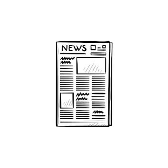 Un'icona di doodle di contorno disegnato a mano di giornale