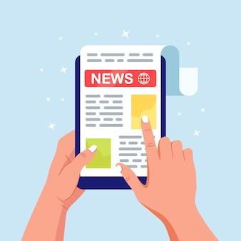 Giornale o giornale sullo schermo del tablet pc.