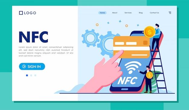 Modello dell'illustrazione del sito web della pagina di destinazione di nfc
