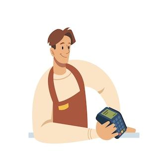 Pagamento senza contatto nfc tramite venditore di smartphone con illustrazione vettoriale di cartone animato piatto lettore pos