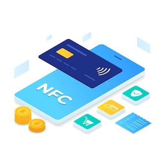 Stile isometrico dell'illustrazione di pagamento nfc. illustrazione