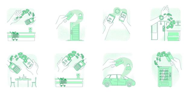 Tecnologia nfc, set di illustrazioni di concetto di linea sottile di dispositivi intelligenti