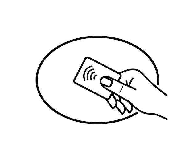 Tecnologia nfc. segno di paga wireless senza contatto. il terminale pos conferma il pagamento contactless dalla carta di credito. toccare per pagare il concetto - segno di vettore. pagamento nfc. segno di pagamento wireless nfc senza contatto