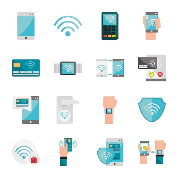 Set di icone della tecnologia nfc