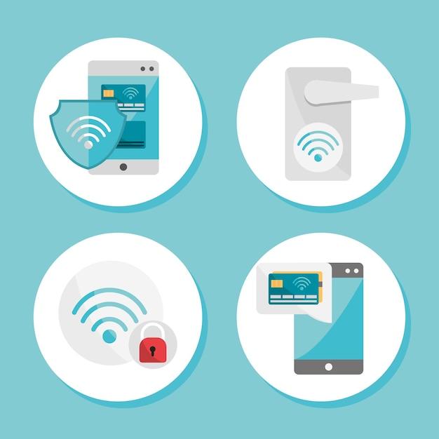 Icone della tecnologia nfc