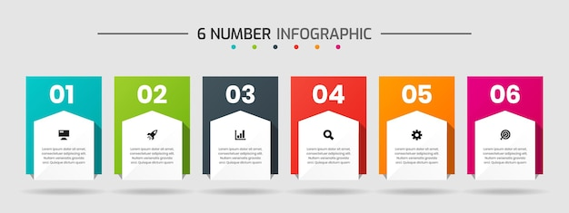 Modelli di progettazione di elementi grafici con icone e 6 numeri