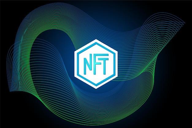 Nft token non fungibile su sfondo lineare astratto denaro online per acquistare poster artistici esclusivi a pagamento