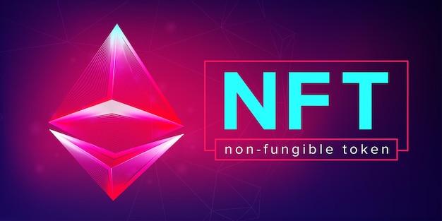 Banner orizzontale token non fungibile nft in stile neon line art. illustrazione vettoriale 3d con wireframe piramide astratta. intestazione del sito web della tecnologia blockchain nel concetto di design di arte crittografica digitale