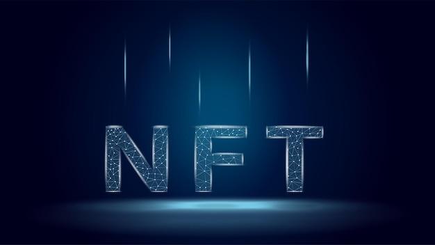 Token nft non fungibili in stile wireframe poligonale su sfondo blu scuro. paga per oggetti da collezione unici nei giochi o nell'arte. illustrazione vettoriale.