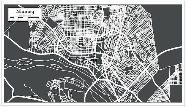 Mappa della città di niamey niger in stile retrò. mappa di contorno. illustrazione di vettore.