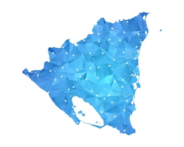 Nicaragua mappa linea punti geometrici astratti poligonali.