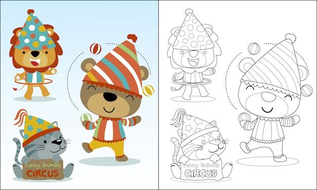 Simpatico cartone animato di animali che giocano a circo