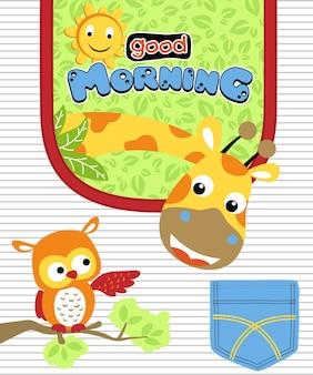 Simpatico cartone animato di animali su fondo a strisce