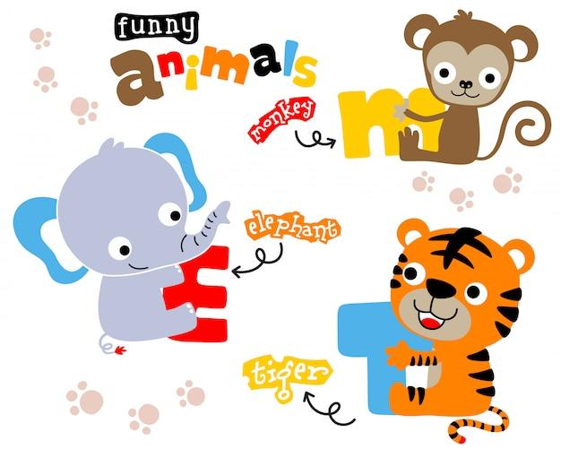 Simpatico cartone animato di animali con lettera colorata