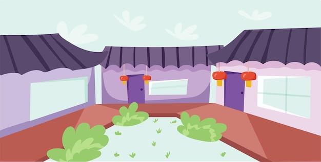 Bel cortile in cina. illustrazione vettoriale in stile piatto