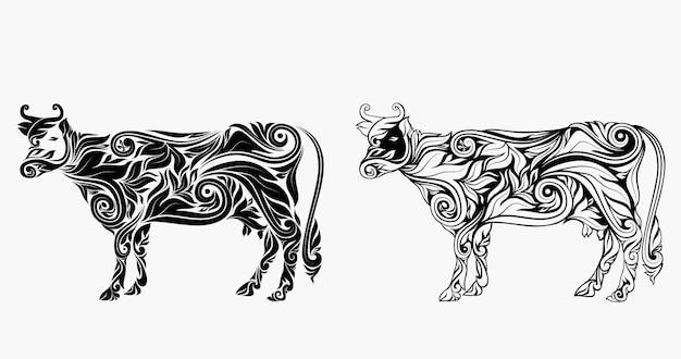 Decorazione floreale dell'ornamento della mucca piacevole.