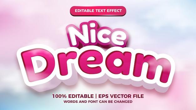 Bel effetto di testo modificabile da sogno con sfondo colorato del cielo