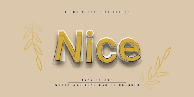 Bel design del modello di effetto di testo modificabile con illustrator