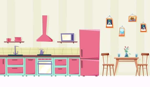 Bella cucina e sala da pranzo con elettrodomestici e tavolo