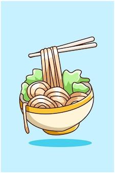 Una bella illustrazione di cartone animato di noodle