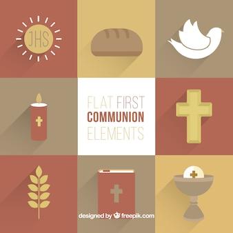 Eleganti elementi religiosi nel design piatto