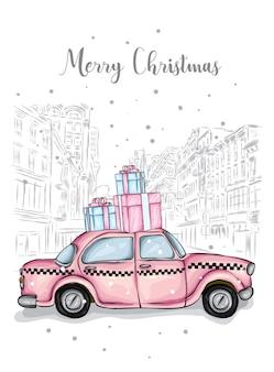 Bel taxi e regali isolati su sfondo di edifici