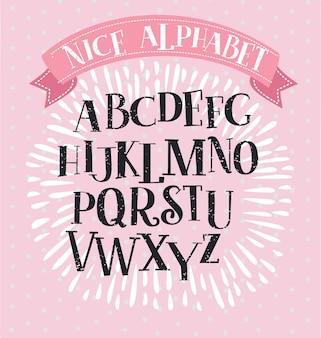 Carattere serif lastra alfabeto bello vintage