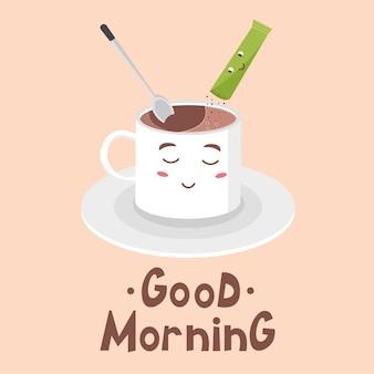 Bella tazza bianca con cucchiaino da caffè istantaneo