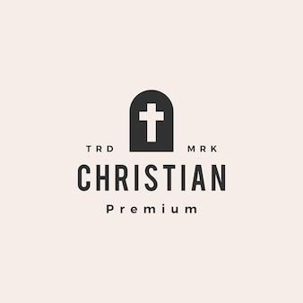 Logo vintage di nicchia porta croce cristiana hipster