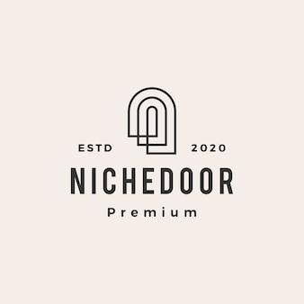 Illustrazione dell'icona di logo vintage hipster porta di nicchia