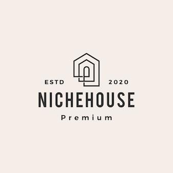 Icona di logo vintage hipster casa di nicchia