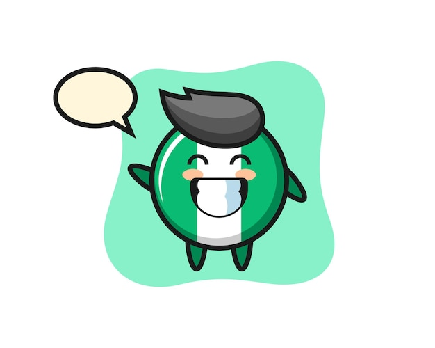 Personaggio dei cartoni animati del distintivo della bandiera della nigeria che fa il gesto della mano dell'onda, design in stile carino per maglietta, adesivo, elemento logo