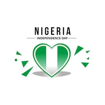 Bandiera della nigeria nel mezzo di un ornamento a cuore con colore originale