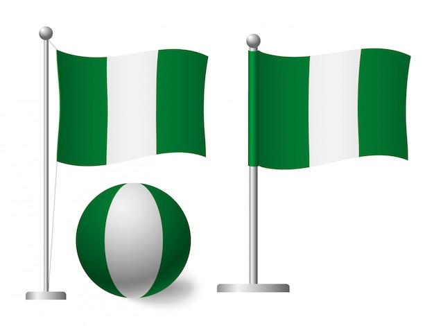 Bandiera della nigeria sull'icona palo e palla