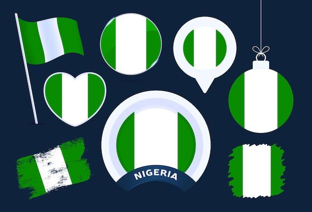 Raccolta di vettore di bandiera della nigeria. grande set di elementi di design della bandiera nazionale in diverse forme per le festività pubbliche e nazionali in stile piatto.