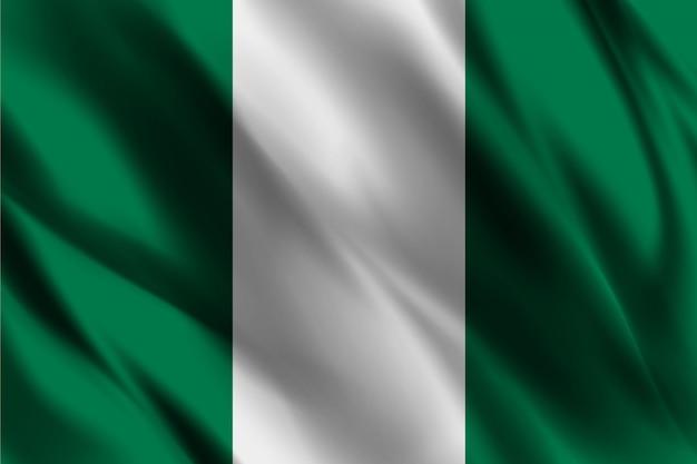 Bandiera della nigeria nel modello di sfondo seta del vento