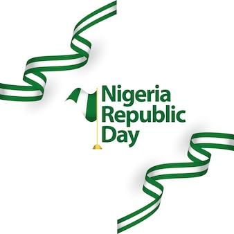 Illustrazione di progettazione del modello di vettore di giorno della repubblica della nigeria