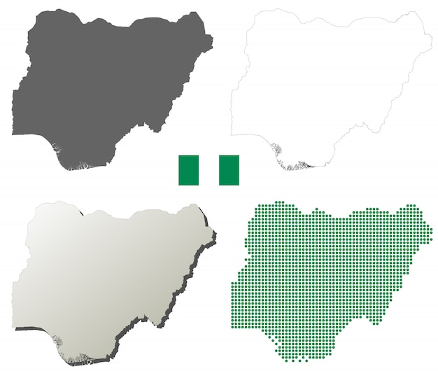 Insieme di mappa di contorno vettoriale nigeria