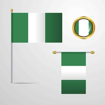 Progettazione d'ondeggiamento della bandiera della nigeria con il vettore del distintivo