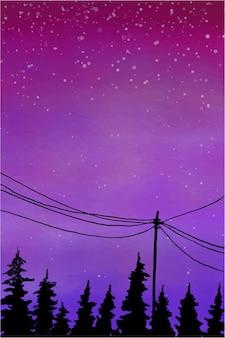 Illustrazione dell'acquerello del cielo al tramonto