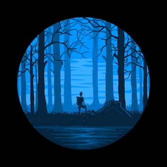 Atmosfera notturna nel bosco escursionismo vettoriale Vettore Premium
