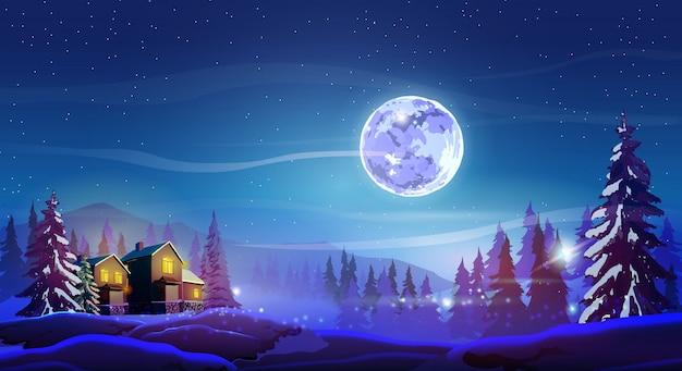 Notte bellissimo paesaggio con case invernali, alberi, montagna e luna.