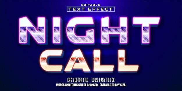 Effetto testo modificabile in stile cyberpunk di testo di chiamata notturna